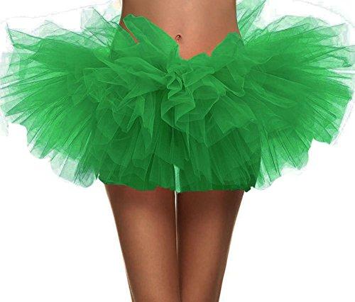 Simplicity Women's Dance Tutu Layered Organza Clubwear Mini Skirt Party Dress, Sante Green