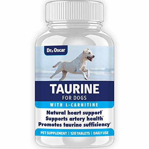 Taurine Supplement for Dogs, Meets RDA of 500 mg per 25lbs Weight Unlike Most Competitors, 120ct, Vet Endorsed for Enlarged Heart (DCM), Congestive Heart Failure (CHF) Taurine Deficiency, Heart Murmur