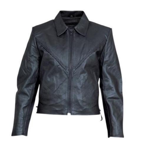 Ladies Women COWHIDE Black Motorcycle Biker Leather JACKET braiding, ZIPOUT Liner, SIDELACES XS-5XL