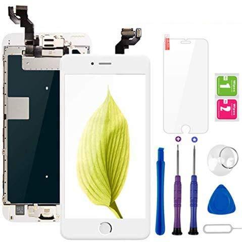 """Display per iPhone 6S Plus Schermo Touch Screen Bianco LCD Vetro 5,5"""" Digitizer Parti di Ricambio (con Home Pulsante, Fotocamera, Sensore Flex) Kit Smontaggio trasformazione Completo di Ricambio"""