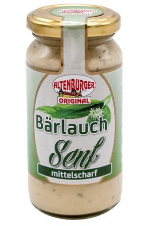 Altenburger Original Bärlauchsenf, 200ml im Glas, würziger mittelscharfer Senf mit leckerer Bärlauchnote