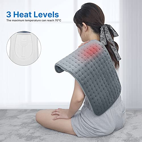 RENPHO Large Electric Heating Pad for Back Pain Relief, Ultra-Soft Heat Pad with 3 Heat Levels, Keep Warming Arm, Leg, Neck and Shoulder, Auto Shut Off - 60×30cm
