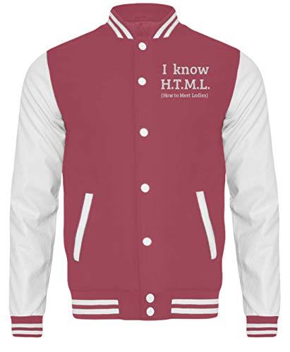 generisch I Know H.T.M.L. - How to Meet Ladies | Programmierier PHP HTML MYSQL - College Sweatjacke -XL-Pink-Weiss
