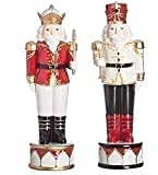 Red Black Merry Nutcracker 11.25 inch Wood Decorative Tabletop Figure Set of 2