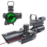 UUQ 2.5-10x40 Combo Rifle Scope, Dual Illuminated Mil-dot Reticle, W/ Mini Reflex 3 MOA Red Dot Sight and Laser Sight (Red Laser)