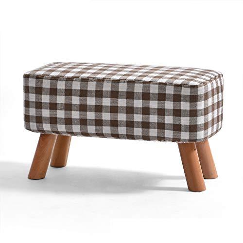 LJZ slixnd Kleiner Hocker Massivholz Moderne Einfachheit Kreative Zuhause Kleine Stuhl Sofa Bank Wechselschuhe Bank Kleine Bank Karomuster