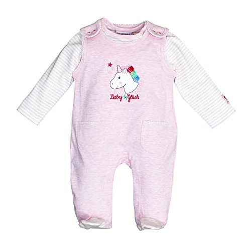 SALT AND PEPPER Baby-Mädchen BG Playsuit Uni Einhorn OCS Strampler, Pink (Sweet Rose Melange 805), 62