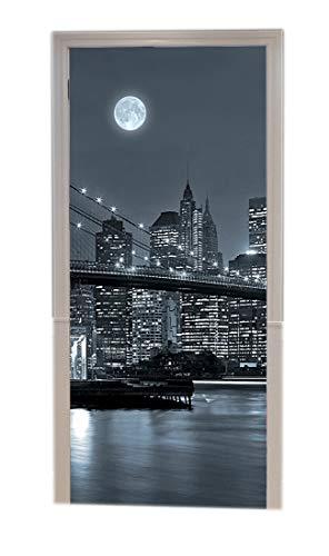 A.Monamour Adesivo Porta Autoadesiva New York Ponte Di Brooklyn Skyline Di Manhattan Di Notte Monocromatico Vinile PVC Adesivi per Porte Interne Pellicola Adesiva Poster Sticker Murale Carta da Parati