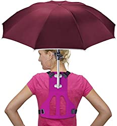 Primo Supply Wearable Hands-Free Umbrella Sun Rain Blocker Fishing Outdoor Use Running Jogging Get Shade and Avoid Hot Afternoons Outside and UV Sunburn | Red