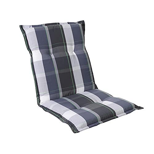 Homeoutfit24 Prato - Cojín Acolchado para sillas de jardín, Hecho en Europa, Respaldo bajo, Resistente a los Rayos UV, Poliéster, Relleno de Espuma, 103 x 52 x 8 cm, 1 Unidad, Gris/Azúl