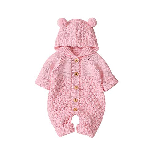 VICROAD Baby Strampler Gestrickter Overall Babykleidung Kapuze mit Süßen Ohren für Jungen Mädchen Neugeborene, Rosa, 18-24 Monate (Herstellergröße: 90)