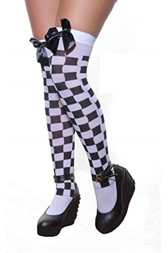 Ladies Sexy muslo alta Hold Up Impreso Medias con lazo en muchos colores multicolor White & Black Checkered mujeres: talla única