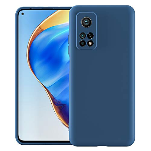 Cresee für Xiaomi Mi 10T / Mi 10T Pro 5G Hülle Hülle, Silikon Handyhülle mit [Schutz für Kamera] [Faser-Innenraum] Anti-Scratch Dünn Schutzhülle Stoßfest Cover, Blau