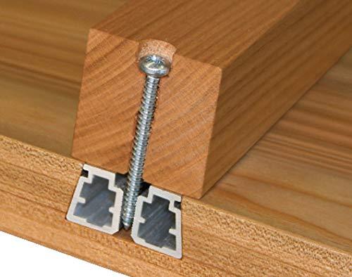 Gedotec Gratleiste für Holz-Tischplatten Ausricht-Beschlag mit für Auszieh-Tische | Tischbeschlag mit Länge: 2500 mm | Leiste Aluminium silber eloxiert | 1 Set Möbelbeschläge für schwere Esstische
