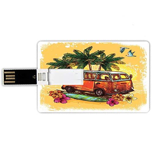 64GB Forma de tarjeta de crédito de unidades flash USB Navegar Estilo de tarjeta de banco de Memory Stick Hippie Clásico autobús antiguo con tabla de surf Freedom Holiday Exotic Life Sketchy Art,Yello