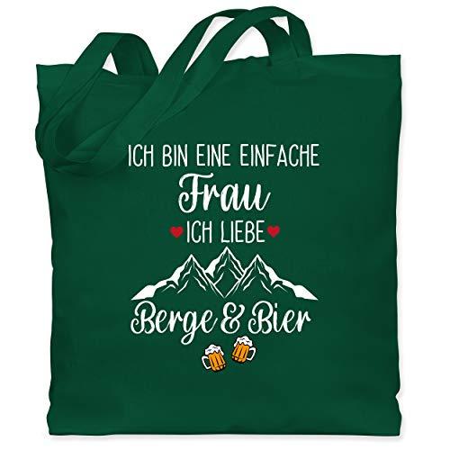 Shirtracer Après Ski - Ich bin eine einfache Frau, Ich liebe Berge und Bier - Unisize - Dunkelgrün - Statement - WM101 - Stoffbeutel aus Baumwolle Jutebeutel lange Henkel