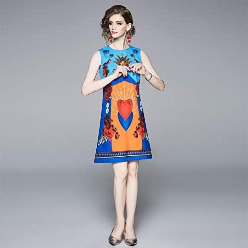 QUNLIANYI Robe Bal Longue Femmes Robe Coeur Impression Vintage Gilet Robe élégante Femelle Vêtements sans Manches Taille Slim