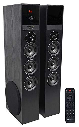 "Rockville TM150B Black Home Theater System Tower Speakers 10"" Sub/Blueooth/USB"