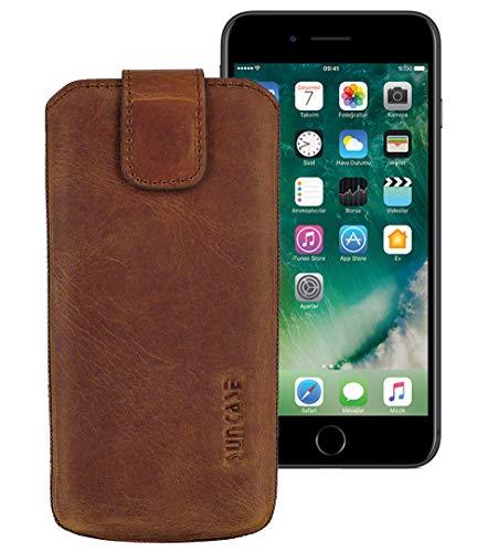 Suncase ECHT Ledertasche Leder Etui Tasche kompatibel mit Apple iPhone SE 2020 Hülle (mit Rückzugsfunktion und Magnetverschluss) antik-Coffee