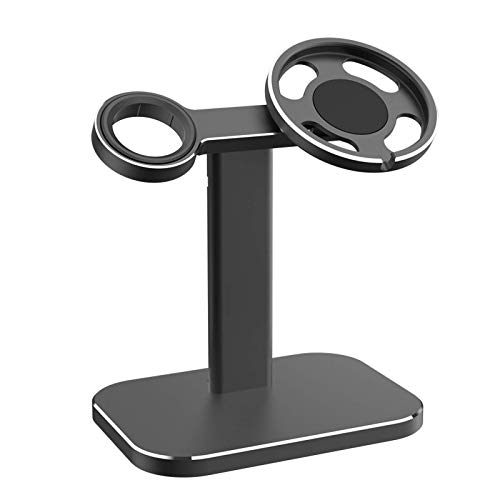 Aluminum 2 in 1 Wireless Charger Stand, Compatible with Magsafe Charger and Apple Watch Charger, Adjustable Desktop Charging Station Base, Suitable for iPhone 12 Pro Max Mini and Apple Watch Series