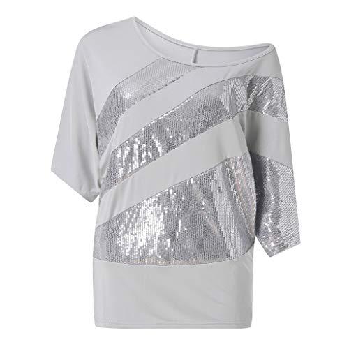 Zimuuy Zimuuy Damen Sommer Bluse, Frau Plus Größe Beiläufiges Pailletten Schulterbluse Kurzarm T Shirt Oberteile (XXXL, Grau)