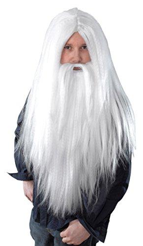 Bristol Novelty - Parrucca e barba lunga finta da mago, di colore bianco e taglia unica, codice prodotto BW660