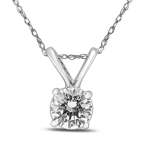 Round Diamond Solitaire Pendant (1/4 Carat - 1/2 Carat) (0.25 Ct Diamond Necklace)