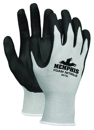 MCR Safety 9673L Memphis Foam Seamless Nylon Knitted Gloves with Black Foam Nitrile Dipped Palm and Fingers, Black/White, Large, 1-Pair