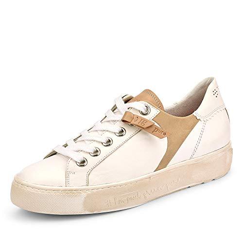 Paul Green 4968 016 PG PURE Damen Sneaker aus Glattleder mit Lederausstattung, Groesse 39, weiß/beige