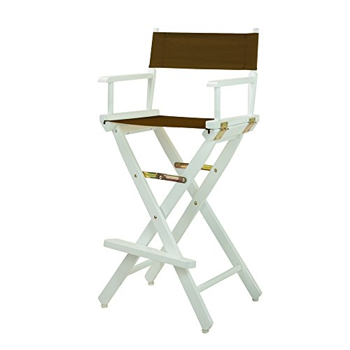 Casual Home 230-01/021-45 Director Chair 30u0022 - Bar Height WhiteFrame/Brown Canvas