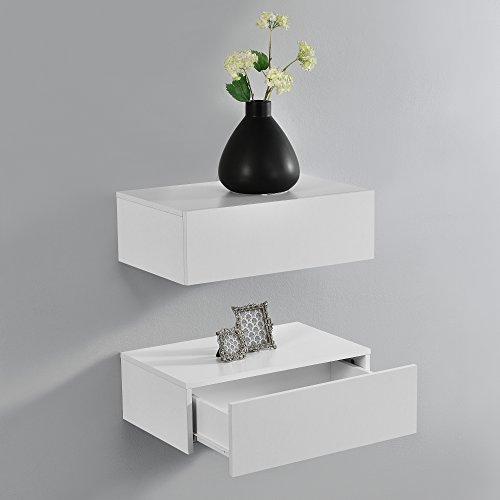 [en.casa] Set de 2 Mesitas de Noche de Pared con cajón - Blanco Mate - 46x30x15cm