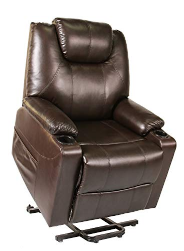 Recliner Chair, Electric Power Lift Recliner Chair Sofa, PU Leather Recliner Chair Ergonomic Lounge Chair with Cup Holders and Side Pockets, USB Ports, Brown