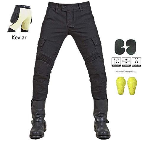 """WCCI Vaqueros de moto para hombres - Kelvar - Protección Aramid Motocicleta Pantalones Biker Pants (Negro, XL=36.5"""" (95cm waist))"""