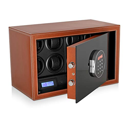 Watch Winder Safe for Automatic Watches with Digital Lock, Leather Finish and Interior Backlight (Brown)