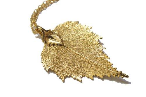 Collar con colgante en forma de hojas Real - de hojas de abedul en dorado