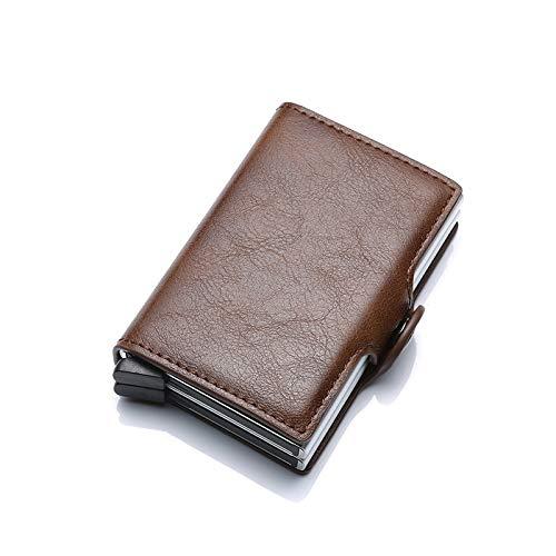 tarjetero RFID BLOQUEO DE PROTECCIÓN HOMBRES DE TARJETA DE TARJETA DE TARJETA DE CUERTA DE CUERO DE CUERO DE CUERTAMIENTO DE CUERTAMIENTO DE METÁNICO Caja de tarjeta de tarjeta de crédito Titular de l