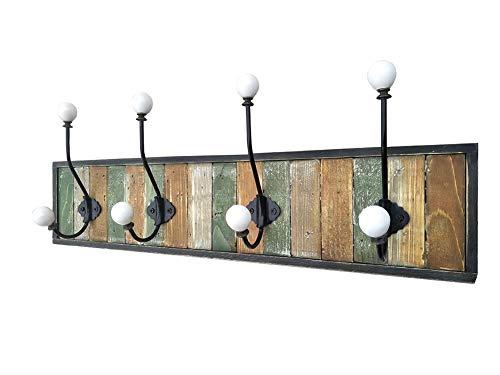Beihaoer, appendiabiti da parete, in legno, stile vintage, rustico, con 4 ganci, colore: verde