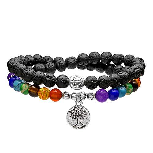 Jovivi 7 Chakra Lavastein Armband 6mm Buddaha Yoga Perlenarmband mit Lebensbaum Anhänger Wickelarmband Mala Kette