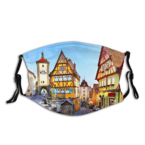 Gesicht Schal Alte Straße in Rothenburg Ob Der Tauber, Bayern, Deutschland Sturmhaube Anti-Staub-Mund Bandanas mit 2 Filtern