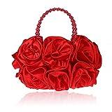 XXSHN Bolsos de Hombro de Embrague de Fiesta con Monedero con patrón de Rosas para Mujer