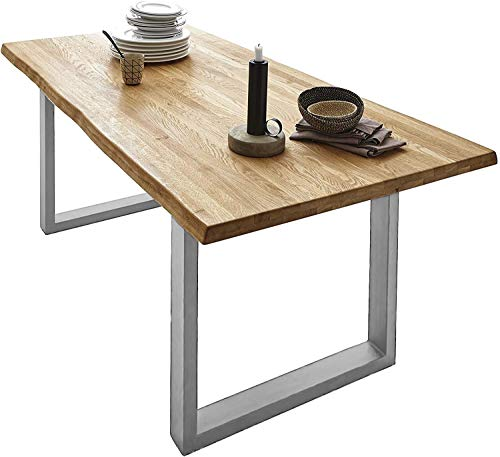 SAM Esszimmertisch 160x85cm Richard, echte Baumkante, Wildeiche massiv & geölt, Eichen-Baumkantentisch mit U-Metallgestell Silber