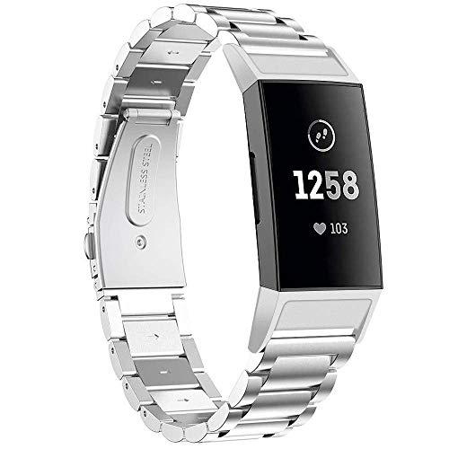 CAVN Armbanden, compatibel met Fitbit Charge 3 armband, roestvrij staal, metaal, vervangbandje voor dames en heren, vervangingsbandje voor Charge 3 / Charge 3 SE