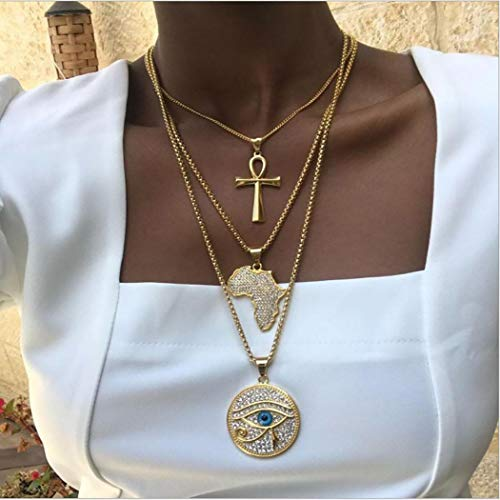 Acedre Boho Cross Choker Necklace Gold Africa Map Layered Pendant Necklace Chains Demon Eye Beach Adjustable Jewelry Dainty Accessory for Women and Girls (Gold 4)