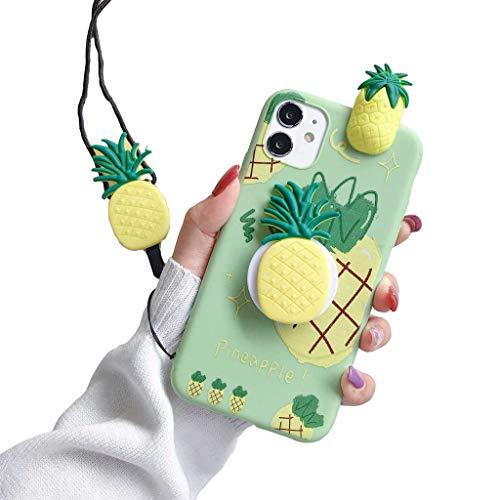 Funda para iPhone 11 3D Fruit Cárcasa Apoyo Soporte esférico Silicona de con Diseño Dibujos Suave TPU Animados Patrón Case Cover Bumper Fundas,Pineapple,iPhone 11Pro