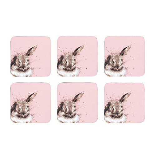 Wrendale Designs Juego de 6 posavasos de conejo rosa