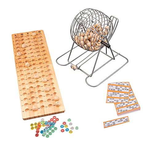 Engelhart - 360567 - Tombola Lotto/Bingo lotería familiar - Bolillero metalico 18 cm, 90 Bolillas y accessorios