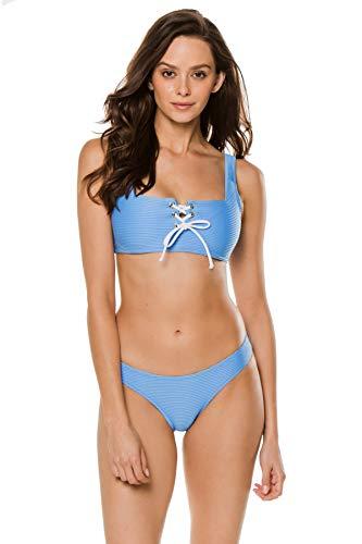 Heidi Klein Women's Cairns Textured Lace-Up Bralette Bikini Top Light Blue L