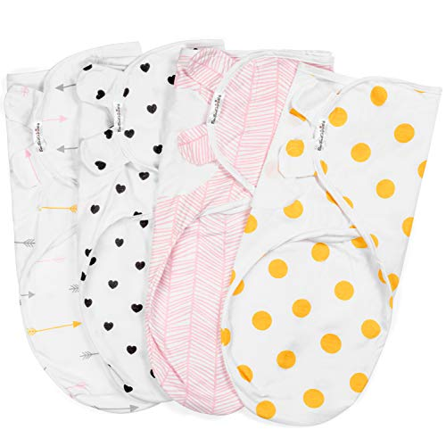 Swaddle Blanket Adjustable Infant Baby Swaddling Wrap Set of 4 Baby Swaddling Wrap Receiving Blankets for Boys and Girls Made in Soft Cotton