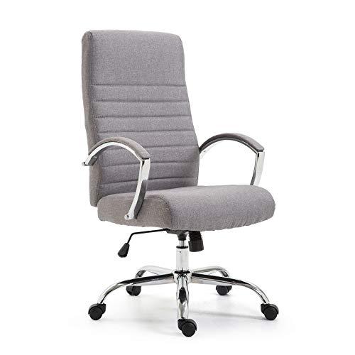 Ramroxx 37942 Chefsessel Bürostuhl Drehstuhl mit Armlehnen Schreibtischstuhl Stoff Hell Grau