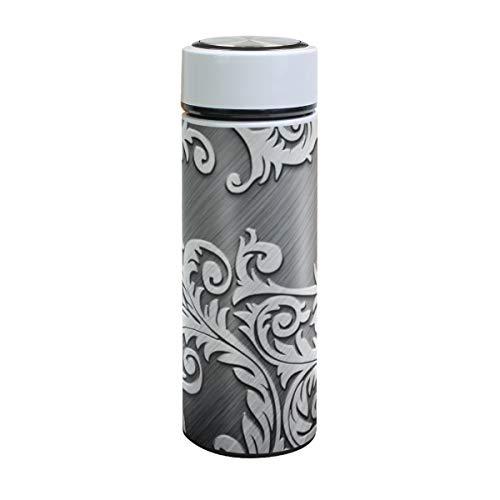 XiangHeFu Reisebecher 17oz Wasserflasche Sport Auslaufsicher Businese Thermoskanne Rattan Metall Silber Kalt oder heiß halten